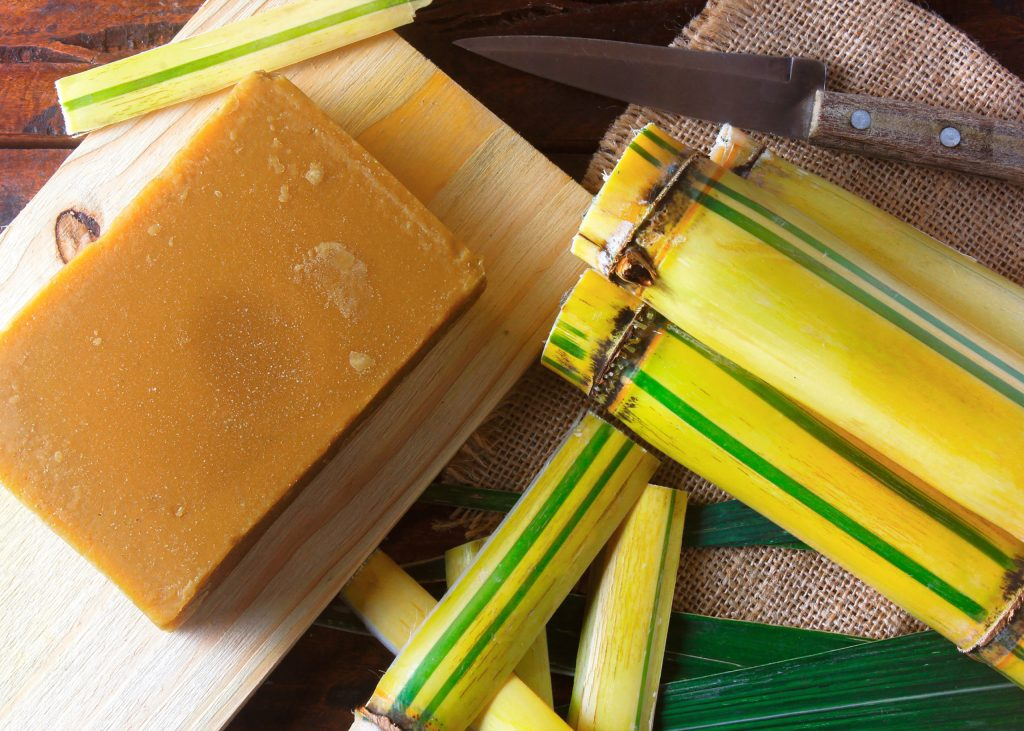 Jaggery or rapdura (Brazil) is a candy made from sugar cane in the form of a bar or brick of Azorean or Canarian origin