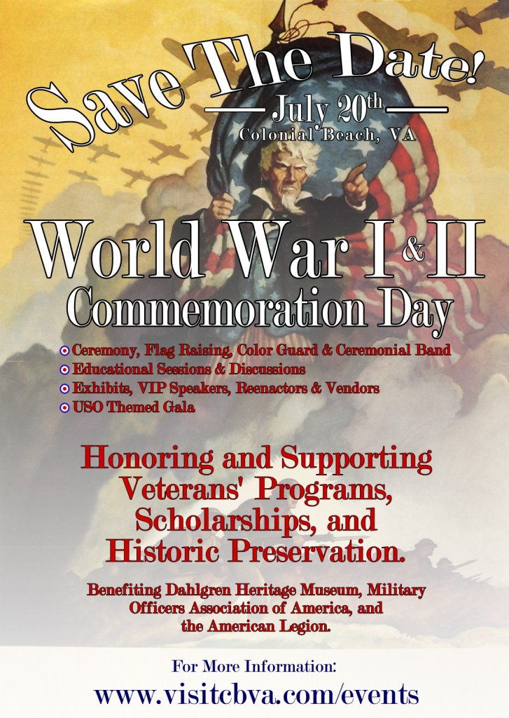 Colonial Beach, Virginia, World War I and World War II Commemoration Day to honor veterans.