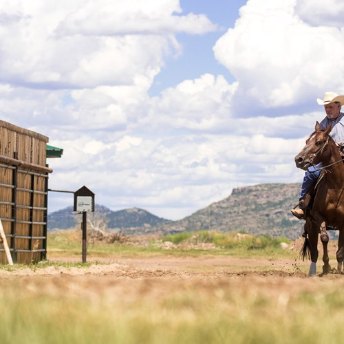Rancher Riding Horse at A Painted View Ranch in Westcliffe