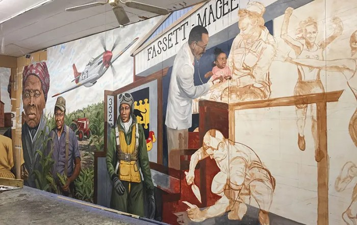 Mural by Michael Rosato in progress in Cambridge, MD