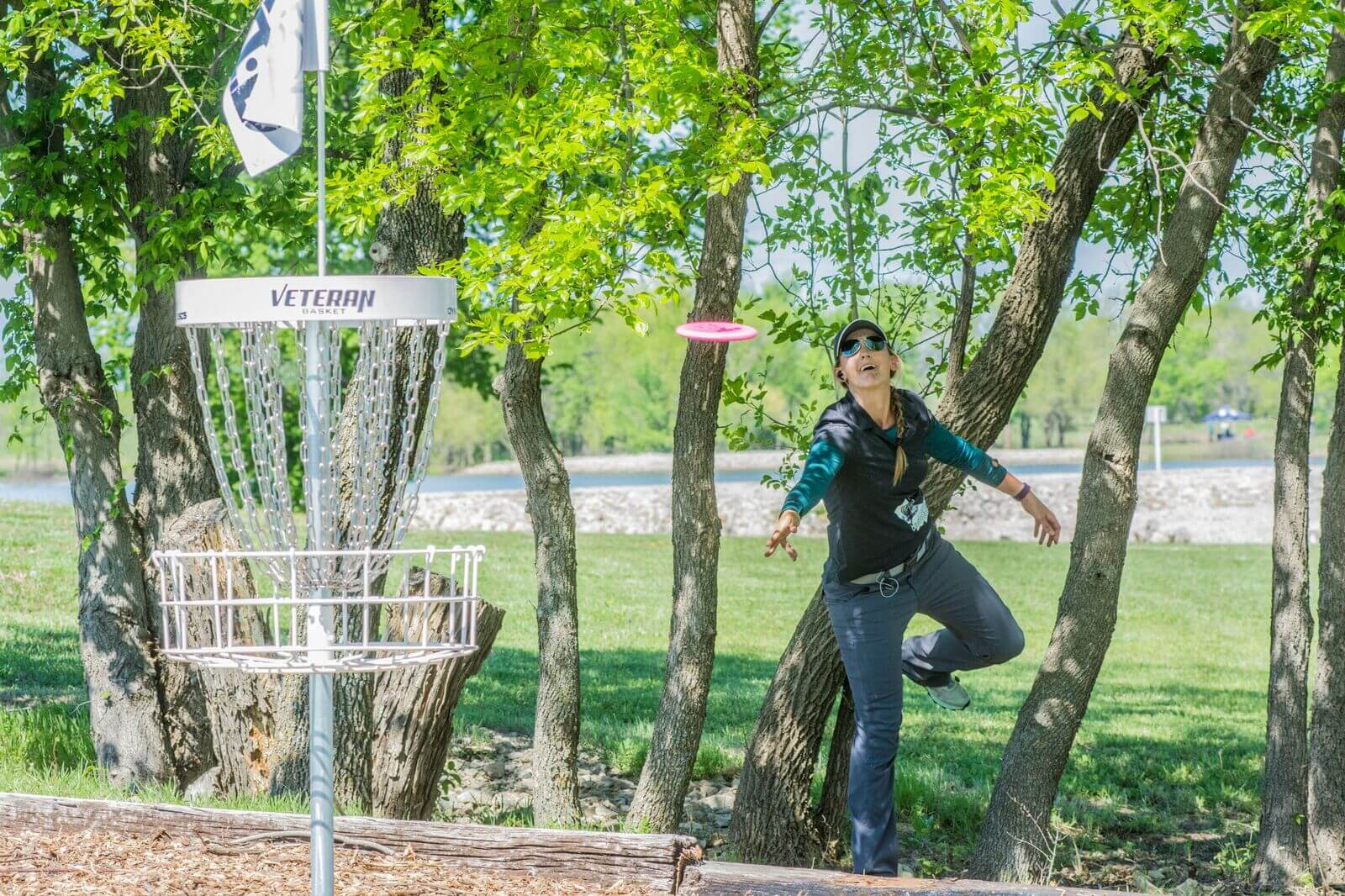 Disc golfer at Glass Blown Open Tournament