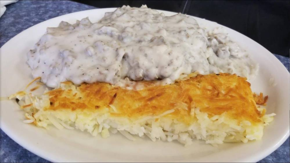 Biscuits and gravy plate at Commercial Street Diner in Emporia