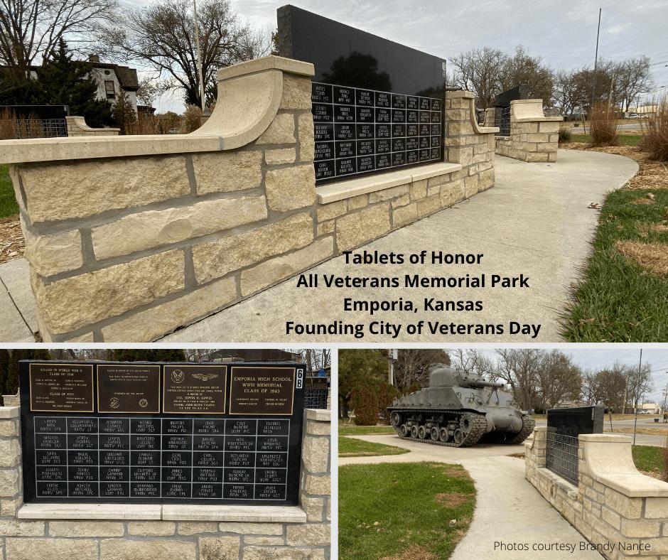 Tablets of Honor All Veterans Memorial Park Emporia, Kansas Founding City of Veterans Day