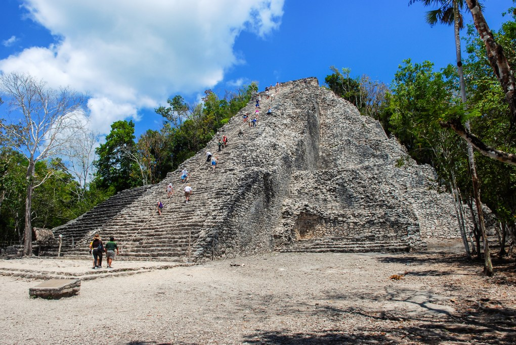Ancient mayan city Coba in Mexico. Its archaeological area is a famous landmark of Yucatan Peninsula. Cloudy sky