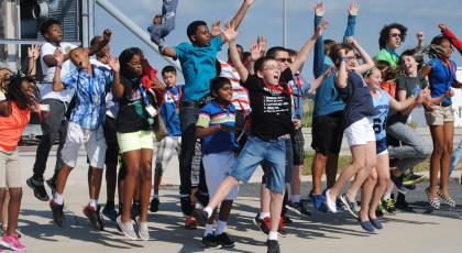 Virginia Space Flight Academy students on launch pad