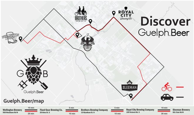 Discover Guelph.Beer Map. Bike and vehicle routes between Wellington Brewery, Fixed Gear Brewing, Brothers Brewing, Royal City Brewing, and Sleeman Brewery.