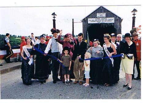 25 opening Premier Bernard Lord & family with bridge organization committee, Miss Hartland, Mayor, Lt Governor.