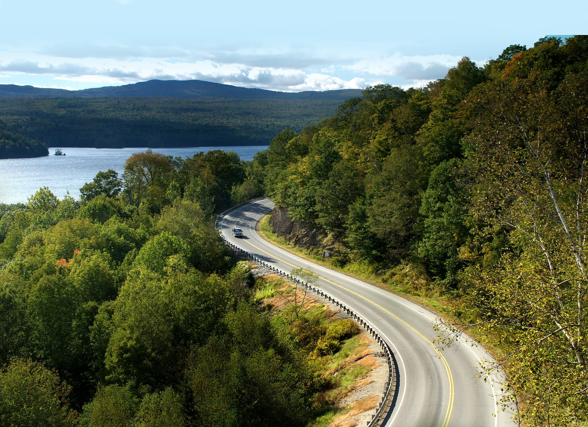 Maine's KEnnebec avlley, Route 201, S Curve, Summer, Moscow, Maine