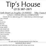 Tip's House: Thai Food Menu