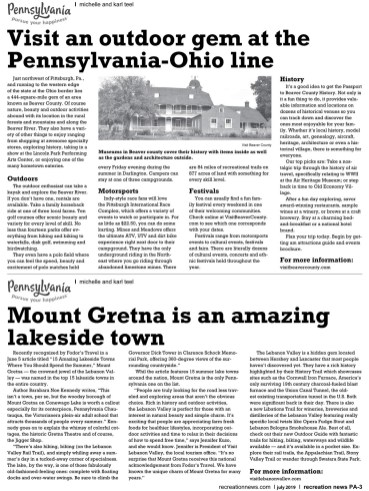 "Article featuring Mount Gretna as an ""Amazing Lakeside Town"""