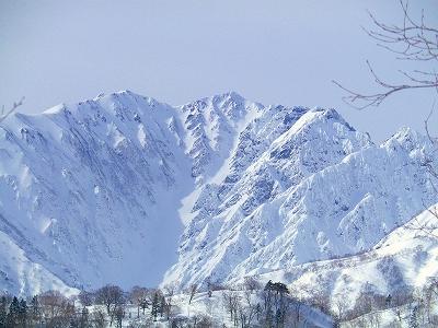唐松岳 →唐松沢Dルンゼスキー滑降《残雪期》