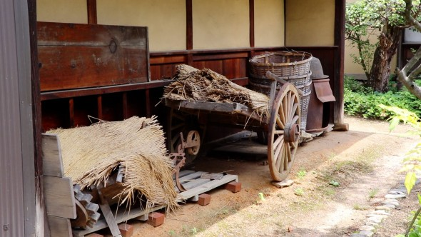 Farm equipment on display.