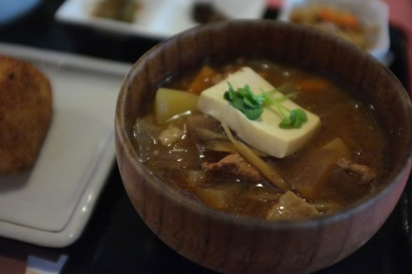 Tonjiru - hearty miso soup with veggies and pork