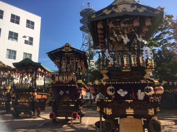 Butai floats lined up near the shrine