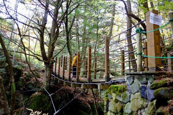 Bridge along the forest trail near Sengenbuchi Falls