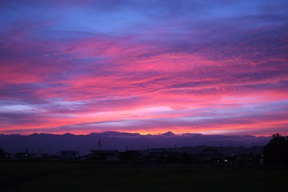 An especially beautifully sunset in Matsumoto