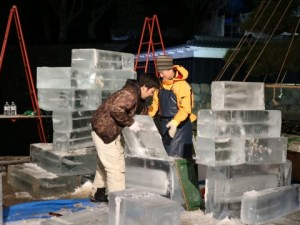 Photos from the 2018 Matsumoto Castle Ice Sculpture Festival