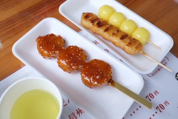 Left to right: Danhei, Shinshu-hei dango, and kibi dango
