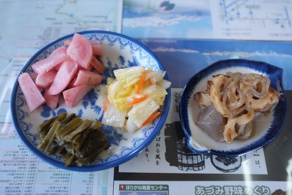 Different kinds of homemade pickles and another mini side dish