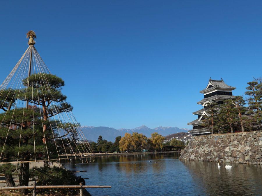 松本城も冬支度 日曜日は最高のお天気でした!