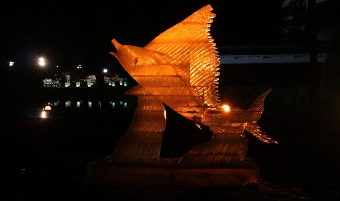 朝&寒く熱い夜 桝形跡広場ICE BAR 国宝松本城氷彫フェスティバル2020