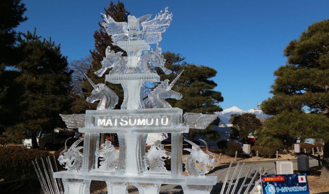 最高の2月の空でした「国宝松本城氷彫フェスティバル2020」