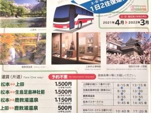 松本ー上田直行バス運行2021年4月~2022年3月