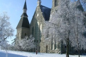 Photo of King Chapel Cornell College during winter