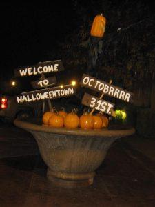 Lisbon Halloweentown Sign with Pumpkins
