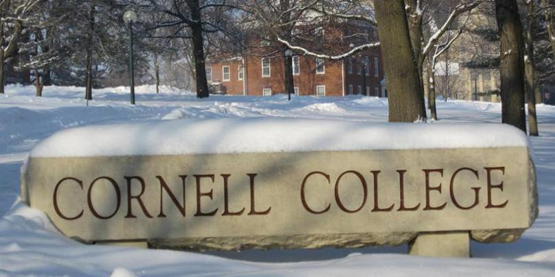 Winter photo of Cornell College Campus Sign