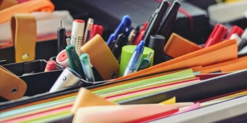 colorful paper and office supplies