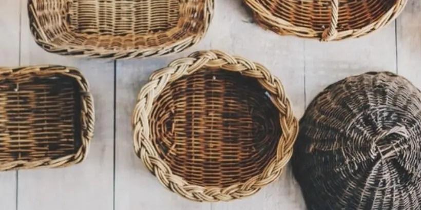 looking down at 5 baskets