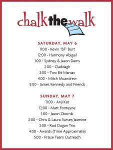 Chalk the Walk 2017 Music Schedule