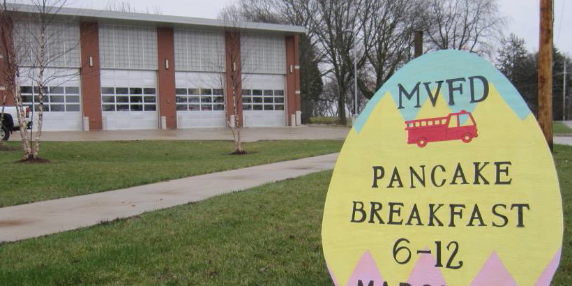 Sign advertising MVFD Pancake Breakfast