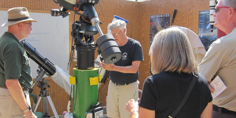 Using a telescope at Observatory