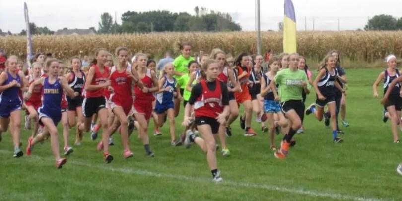 Start of Middle School Girls Cross Country Meet