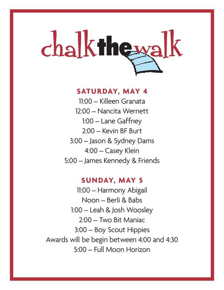 Chalk the Walk 2019 Live Music Schedule