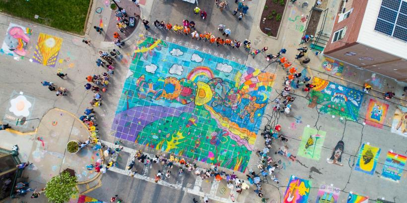 Chalk the Walk overhead view 2019