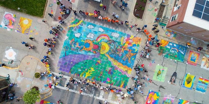 Chalk the Walk overhead view 2019