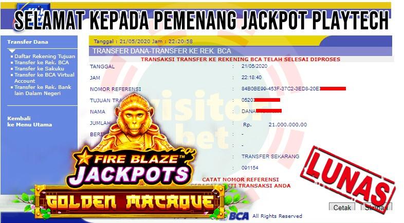 Pemenang Jackpot Playtech Kamis 21 Mei 2020