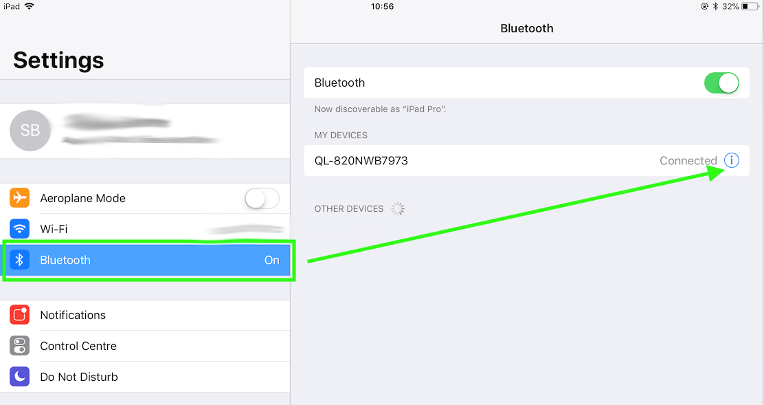 viewing the bluetooth settings