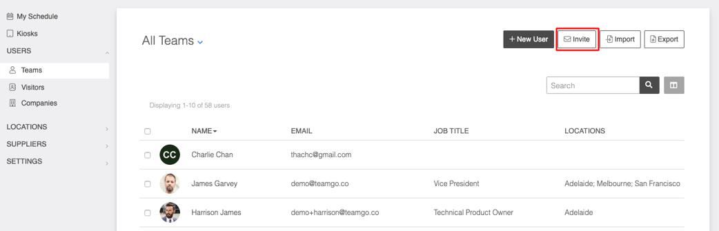 team member invitation