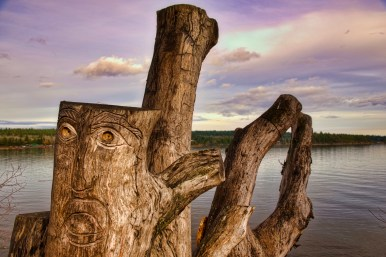 View of carved tree trunk in Transfer Beach, taken in the town of Ladysmith, British Columbia, Canada