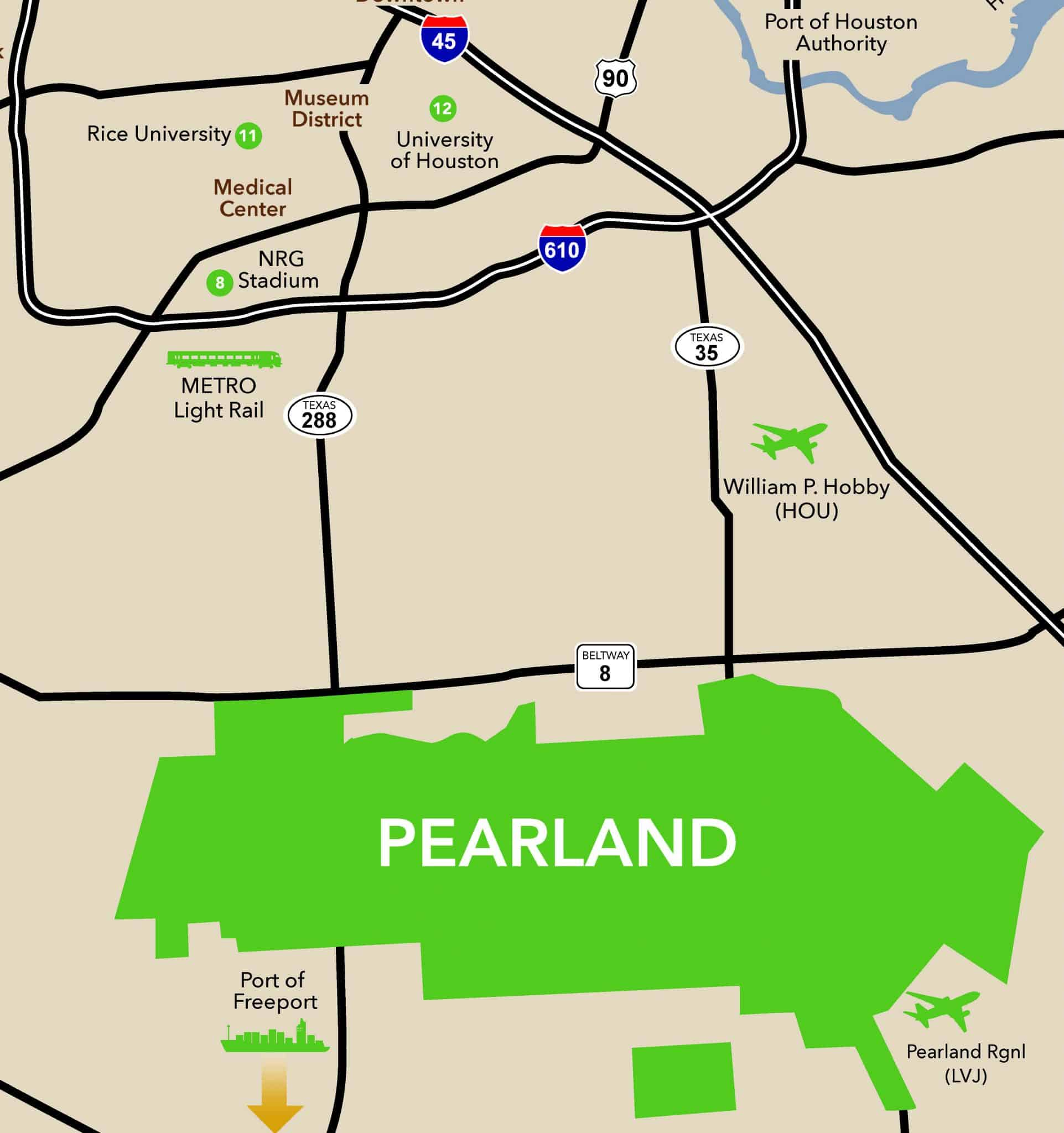 Map Of Texas Medical Center.Pearland Tmc Map Pearland Texas Convention Visitors Bureau
