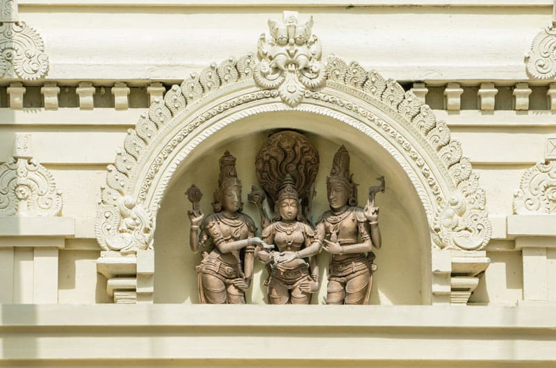 The Sri Meenakshi Temple in Pearland is covered in fascinating artistic and architectural details, including this sculpture in relief.