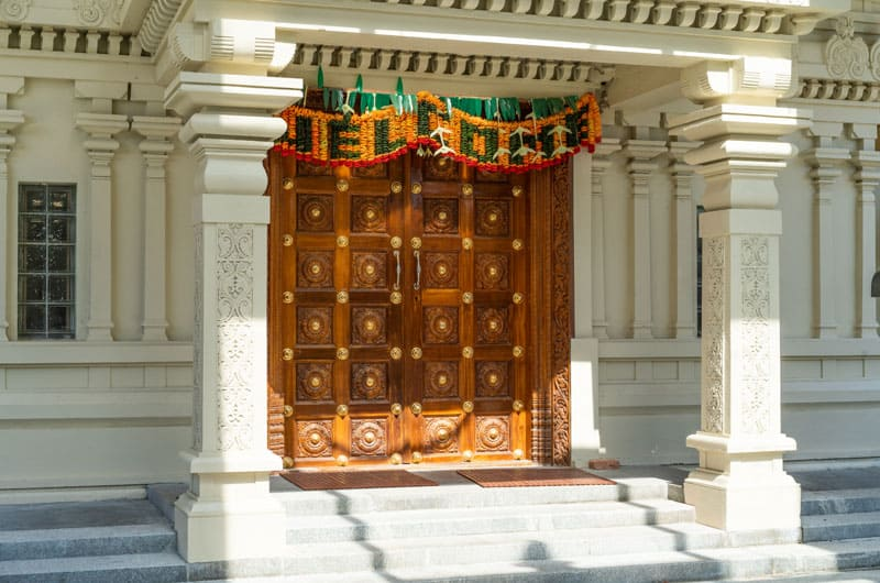 The main doors of the Sri Meenakshi Temple welcome visitors and worshipers throughout the year.