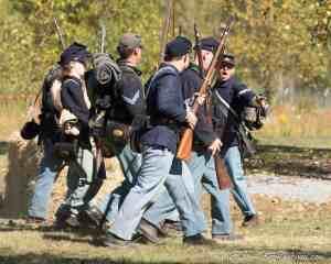 Soldiers renact a skirmish during the Civil War Train at Mt. Rainier Railroad and Logging Museum