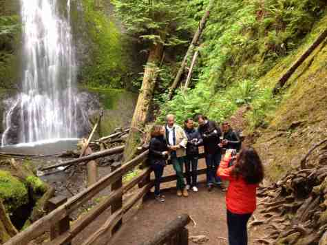 Posing for a photo at Marymere Falls