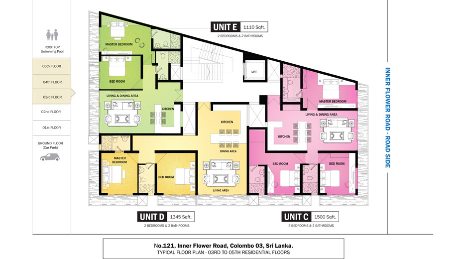 Blue ocean apartment in colombo inner flower road real for Apartment plans in sri lanka