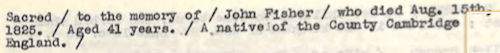 Fisher, John Epitaph